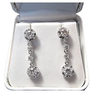 Diamond Estate Dangle Wedding Birthstone  Earrings Platinum