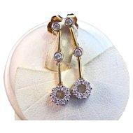 Estate 1960's Wedding Birthstone Anniversary Diamond Dangle Earrings 18K