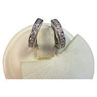 Diamond Huggie-Style Hoop Estate Wedding Birthstone Earrings 14K
