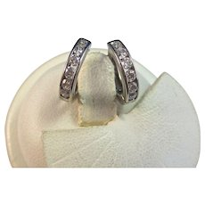 Diamond Huggie-Style Hoop Estate Earrings 14K