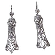 Art Deco VS Diamond 1920's Wedding Birthstone Dangle Earrings Platinum