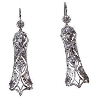 Art Deco VS Diamond 1920's Wedding Birthstone Dangle Earrings Platinum