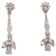 Diamond 1950's Estate Dangle Wedding Birthstone Earrings 14K