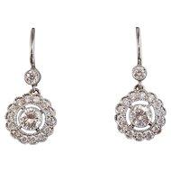 Estate Wedding Birthstone Anniversary Diamond Dangle Earrings Platinum