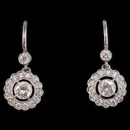 Estate Wedding Birthstone Anniversary Diamond Dangle Earrings Platinum