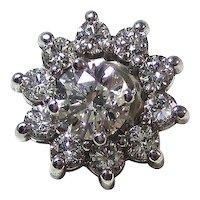 Vintage Estate 1.72 Carat Diamond Stud Jackets Earrings 14K