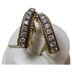 Vintage Estate Diamond J Hoop Earrings 14K