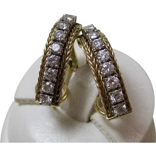 Vintage Estate Wedding Day Anniversary Birthstone Diamond J Hoop Earrings 14K