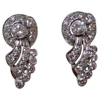 Estate VS1 Diamond Wedding Anniversary Birthstone Drop Earrings 14K White Gold