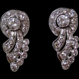Estate VS1 Diamond Drop Earrings 14K White Gold