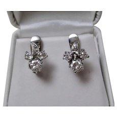 1950's Estate Wedding Day Birthstone Floral Cluster Diamond Earrings 14K