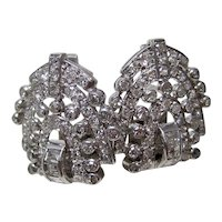 Vintage Estate Wedding Day Birthstone Art Deco Diamond Earrings Platinum
