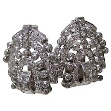Vintage Estate Wedding Day Birthstone Art Deco Diamond Earrings Platinum