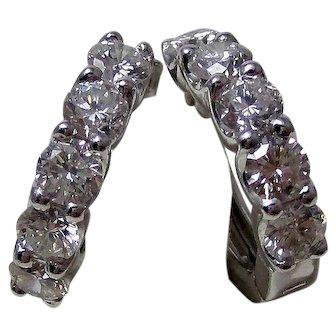Estate Wedding Birthstone Hoop Style Diamond Earrings 18K