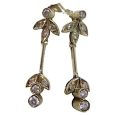 Vintage Estate Art Deco Diamond Drop Wedding Anniversary Birthstone Earrings