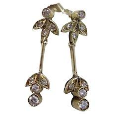 Vintage Estate Art Deco Diamond Drop Wedding Anniversary Birthstone Earrings
