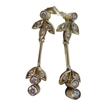 Vintage Estate Art Deco Diamond Drop Earrings