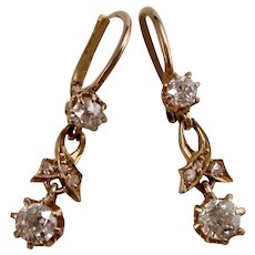 Antique Edwardian 1901 Drop Diamond Wedding Day Anniversary Birthstone Earrings 18K