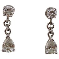Estate Wedding Day Birthstone Dangle  Diamond Earrings Platinum