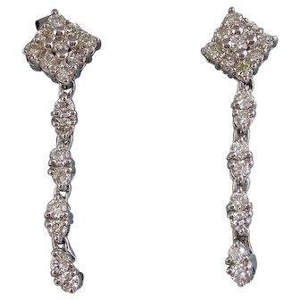 Estate Wedding Day Anniversary Birthstone Diamond Dangle Earrings 14K