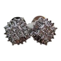 Vintage Wedding Day Diamond Stud Earrings 14K