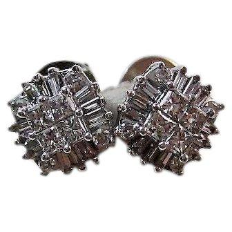 Vintage Wedding Day Birthstone Anniversary Diamond Stud Earrings 14K