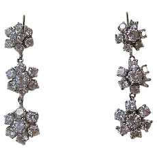 Vintage Estate Wedding Day Anniversary Birthstone Diamond Drop Earrings 14K