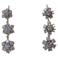 Vintage Estate Wedding Day Anniversary Birthstone Diamond Drop Earrings 14K