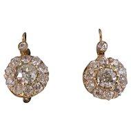 Antique Edwardian 1901 Drop Diamond Wedding Day Anniversary Birthstone Earrings 18K