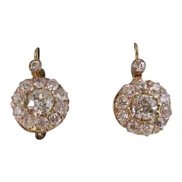 Antique Edwardian 1901 Drop Diamond Wedding Day Earrings 18K