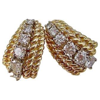 Vintage Estate Wedding Day Birthstone Anniversary Diamond Earrings 14K