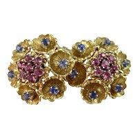 Vintage Estate 1950's Floral Ceylon Sapphire Earrings 18K