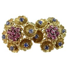 Vintage Estate 1950's Floral Wedding Day Birthstone Anniversary Ceylon Sapphire Earrings 18K