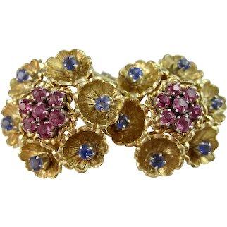 Vintage Estate 1950's Floral Wedding Day Birthstone Anniversary Ceylon Sapphire Earrings 18K