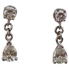 Estate Wedding Day Birthstone Dangle Diamond Earrings Platinum