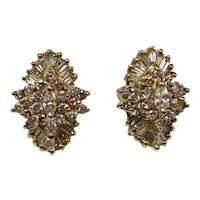 Vintage Estate Diamond Cluster Earrings 14K