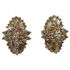 Vintage Estate Wedding Day Birthstone Anniversary Diamond Cluster Earrings 14K