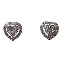 Vintage Estate Heart Diamond Stud Earrings 18K