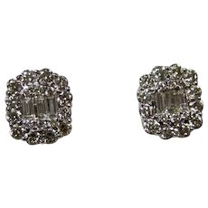 Vintage Estate Diamond Wedding Baguette Earrings 18K