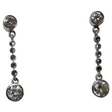 Estate Wedding Day Anniversary Diamond Earrings 14K
