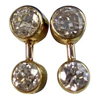 Vintage Estate Old European Cut Diamond Earrings 14K
