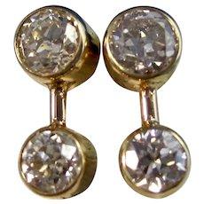 Vintage Estate Old European Cut Diamond Earrings 14K