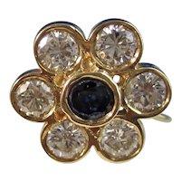 Vintage Estate Natural Sapphire & Diamond Floral Earrings 14K