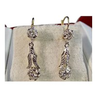 Vintage Estate Art Deco Diamond Dangle Wedding Day Birthstone Earrings 14K