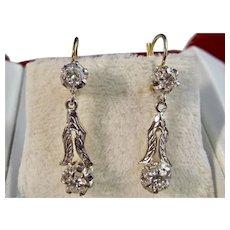 Vintage Estate Art Deco Diamond Dangle Wedding Day Birthstone Earrings 14K