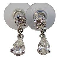 Vintage Estate Diamond Dangle Wedding Earrings Platinum