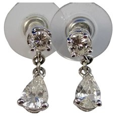 Vintage Estate Diamond Dangle Wedding Day Birthstone Earrings Platinum