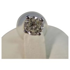 Vintage Estate Wedding Diamond Stud Earrings 14K White Gold