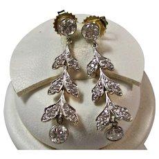 Antique Edwardian Diamond Dangle Wedding Day Earrings Platinum