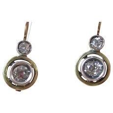 Vintage Estate Art Deco Old Mine Cut Diamond Earrings 14K